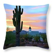 Saguaro Cactus And Church Throw Pillow