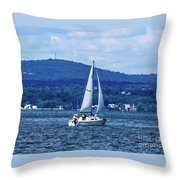 Sail Boat On The Hudson River Throw Pillow