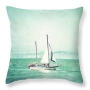 Sailboat In San Francisco Bay Throw Pillow