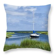 Sailboat Salt Marsh Throw Pillow