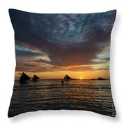 Sailing Boats At Sunset Boracay Tropical Island Philippines Throw Pillow