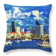 Sailing In San Diego Bay  Throw Pillow