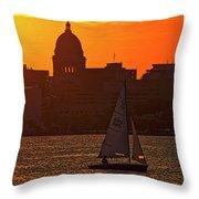 Sailing - Lake Monona - Madison - Wisconsin Throw Pillow