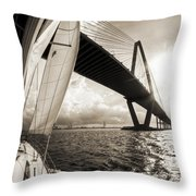 Sailing On The Charleston Harbor Beneteau Sailboat Throw Pillow