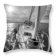 Sailing Yacht Fate Beneteau 49 Black And White Throw Pillow