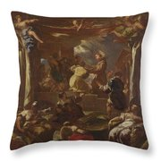 Saint Anthony Of Padua Restores The Foot Of A Man Throw Pillow