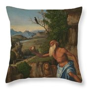 Saint Jerome In A Landscape Throw Pillow