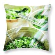 Salad Bar Buffet Fresh Mixed Lettuce Display Throw Pillow
