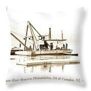 Salvage Barge, Delaware River, Philadelphia, C.1900 Throw Pillow