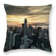 San Francisco City Skyline At Sunset Aerial Throw Pillow