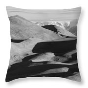 Monochrome Sand Dunes And Rocky Mountains Panorama Throw Pillow
