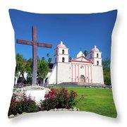 Santa Barbara Mission And Cross Throw Pillow