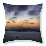 Santorini Caldera Sunset Throw Pillow