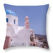 Santorini Oia Blue Domed Church Throw Pillow