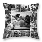 Savannah Collage Black And White Throw Pillow