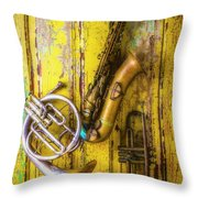 Sax French Horn And Trumpet Throw Pillow