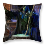 Scary Old Witch With A Cauldron Throw Pillow