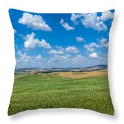 Scenic Tuscany Landscape With Rolling Hills In Val D'orcia, Ital Throw Pillow