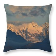 Scenic View Of The Dolomites Mountains With A Cloudy Sky  Throw Pillow
