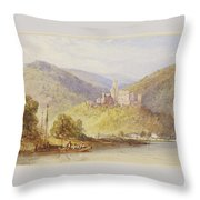 Schloss Stolzenfels From The Banks Of The Lahn Throw Pillow