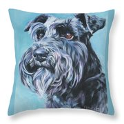 Schnauzer Throw Pillow by Lee Ann Shepard