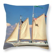 Schooner On Mobile Bay Throw Pillow