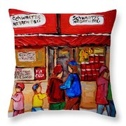 Schwartz's Hebrew Deli Throw Pillow