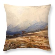 Scottish Landscape With Drover And Cattle Throw Pillow