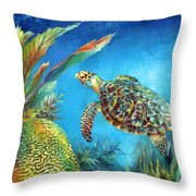 Sea Escape Iv - Hawksbill Turtle Flying Free Throw Pillow
