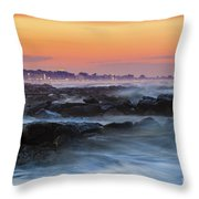 Sea Storm At Sunset Throw Pillow