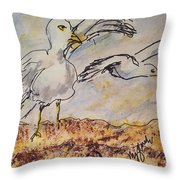 Seagull Salute Throw Pillow