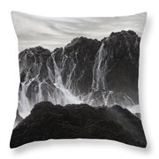 Seal Rocks Waves And Rocks 3 Bw Throw Pillow