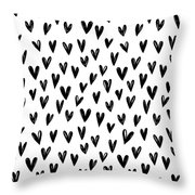 Seamless Pattern With Hand Drawn Hearts.  Throw Pillow