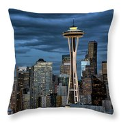 Seattle Night Throw Pillow