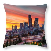 Seattle On Firer Throw Pillow