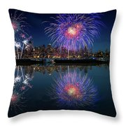 Seattle Skyline And Fireworks Throw Pillow