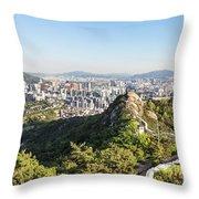 Seoul City Wall From Inwangsan Mountain In South Korea Capital C Throw Pillow