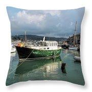 September Morning - Lyme Regis Harbour Throw Pillow