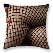 Sexy Legs In Fishnet Stockings Throw Pillow