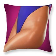 Sexy Young Woman In High Cut Swimsuit Throw Pillow