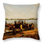 Shad Fishing On The Delaware River Throw Pillow