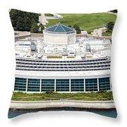 Shedd Aquarium In Chicago Aerial Photo Throw Pillow