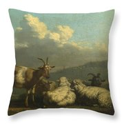 Sheep And Goats Throw Pillow