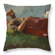 Shepherd Girl Resting Throw Pillow
