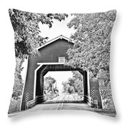 Shimanek Covered Bridge -surreal Bw Throw Pillow