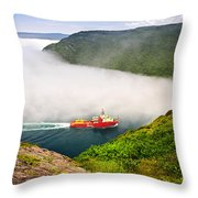 Ship Entering The Narrows Of St John's Throw Pillow