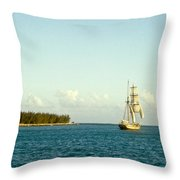 Ship Off The Bow Throw Pillow