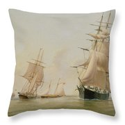 Ship Painting Throw Pillow by WF Settle
