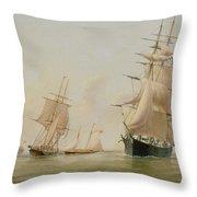 Ship Painting Throw Pillow