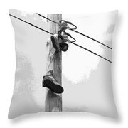 Shoefiti 2160bw Throw Pillow by Brian Gryphon